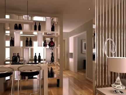 现代风格三居室玄关酒柜装修效果图