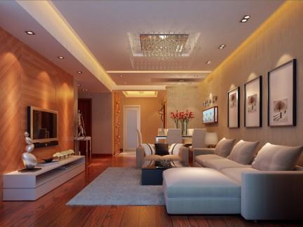 现代简约风格客厅米黄色沙发背景墙壁纸图片