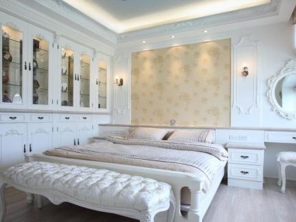 简欧风格卧室白色梳妆台效果图