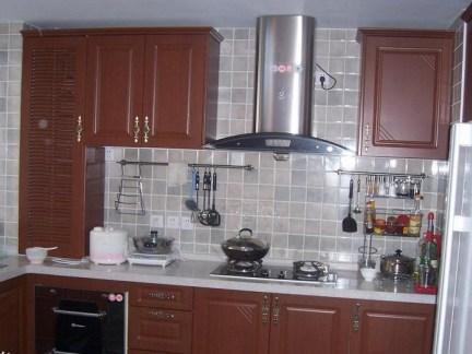 中式风100平两居咖啡色橱柜装修效果图