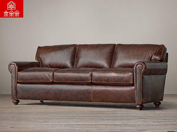 【木朵朵】出口原版全真皮沙发 进口油蜡皮 美式沙发
