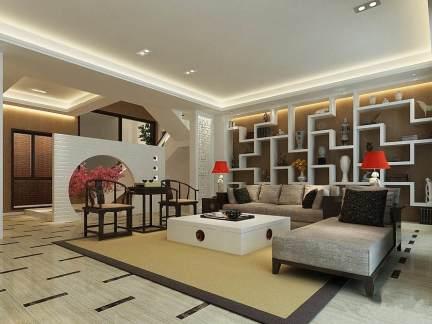 新古典风格别墅客厅白色博古架装修效果图