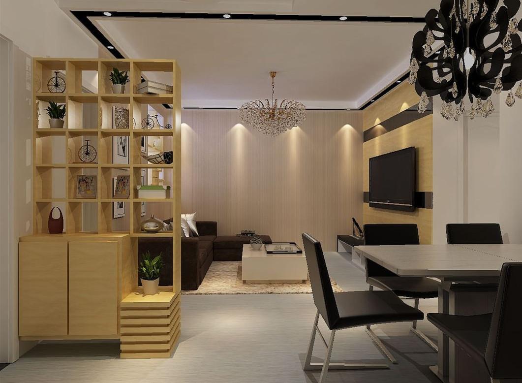 现代简约风格客厅黄色博古架效果图