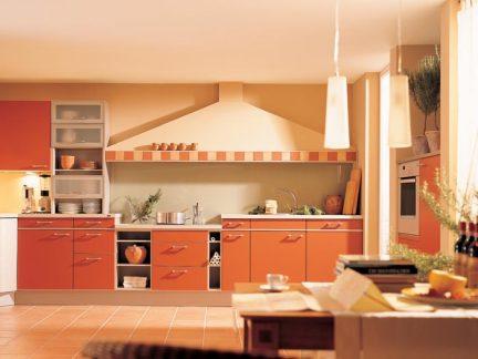 高端大气欧式248平别墅橙色橱柜装修效果图
