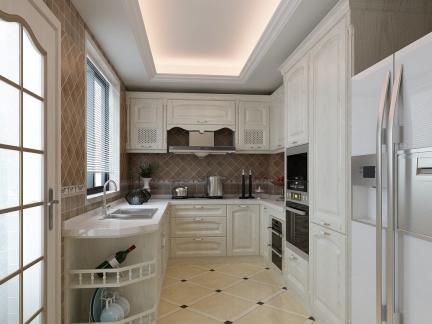 时尚欧式147平三居室厨房橱柜装修效果图