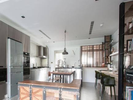 混搭风格创意时尚白色厨房效果图