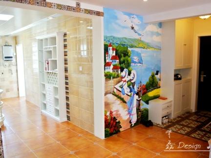 地中海风格三居室厨房隔断装修效果图