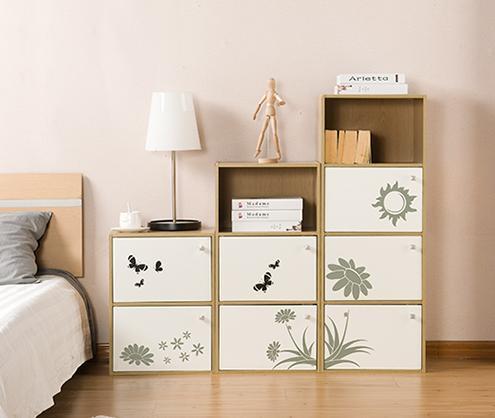 好事达 书柜带门组合储物柜子时尚印花书架收纳柜 二三四层组合