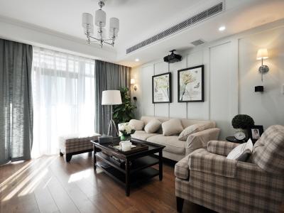 现代美式-120平米三居室装修设计