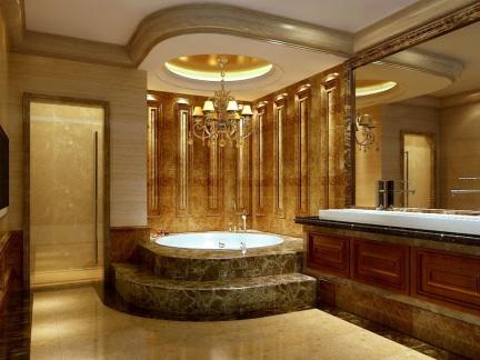 低奢新古典风格豪华别墅卫生间效果图
