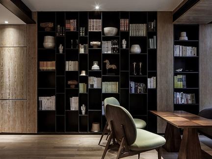 原木家具现代风格书房设计效果图