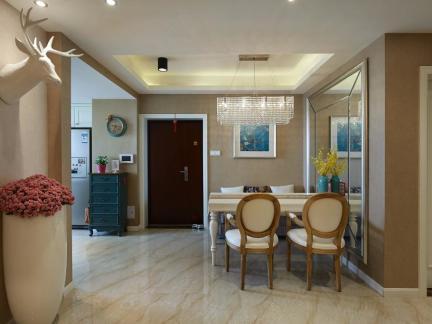 50平米两室一厅粉色餐厅装修效果图