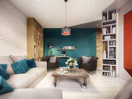 50平米两室一厅宜家风书房装修效果图