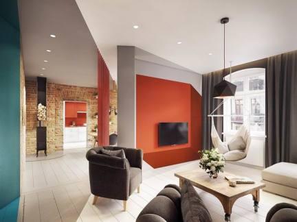 50平米两室一厅橙色电视背景墙装修效果图