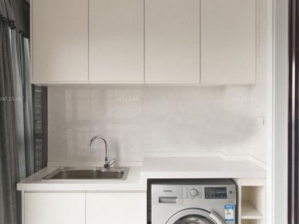 极简白色简约阳台洗衣机装修效果图