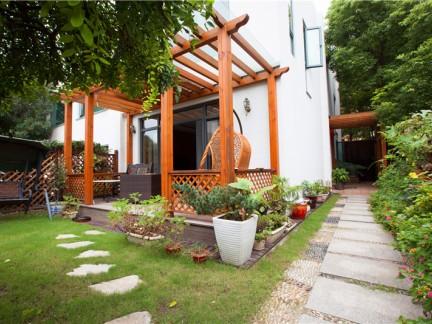 田园风别墅一楼带小院花园装修效果图-2018一楼带小院装修效果图 房