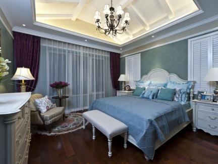 地中海风格蓝色魅惑卧室装修实景图
