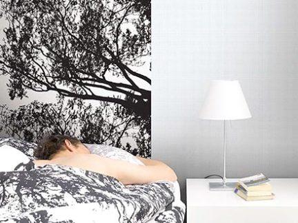 时尚黑白简约风格卧室壁纸装修实景图