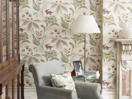 欧式风格绿色花卉图案壁纸装修实景图