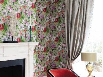 美式风格客厅彩色壁纸装修实景图