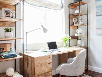 现代简约风格原木色书桌装修实景图