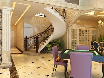 米色时尚高端现代楼梯跃层复式效果图