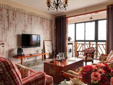 浪漫美式乡村风客厅红沙发效果图