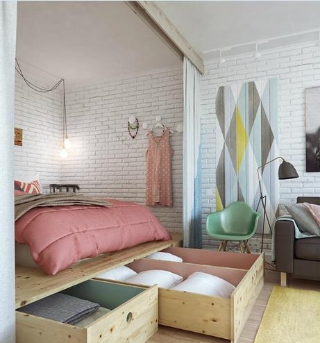 现代简约-45平米一居室-装修样板间