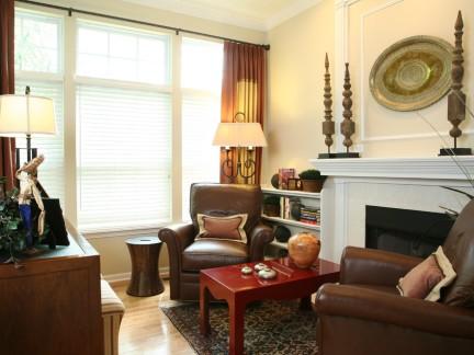 沉稳美式风格客厅小面积家装效果图图片