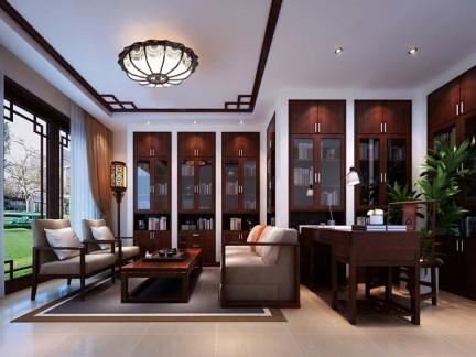 东南亚风格三居室书房窗帘装修效果图
