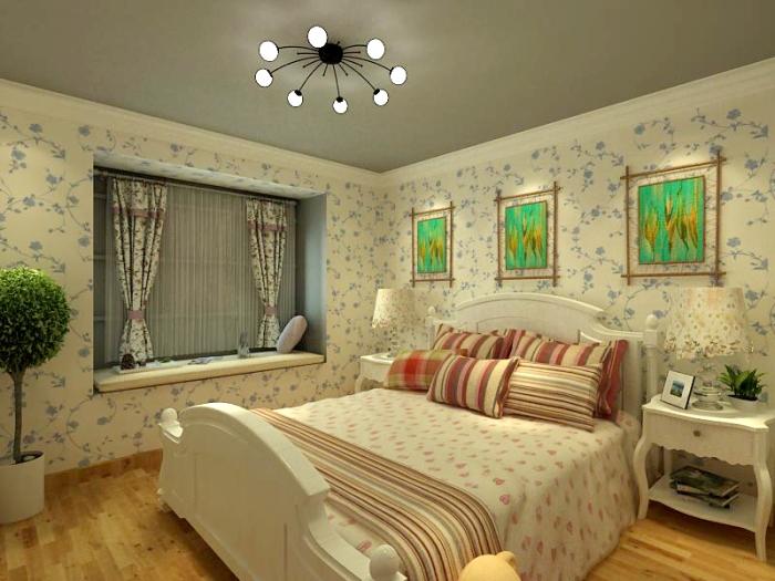 田园风格-89.3平米二居室-装修样板间