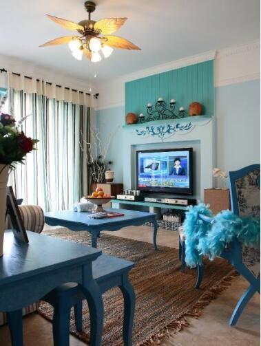 地中海风格-78平米二居室-装修样板间