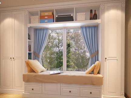 美式风格白净客厅飘窗柜子装修效果图