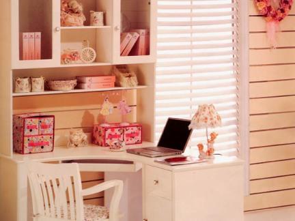 清新甜美日韩风格书柜电脑桌一体图片