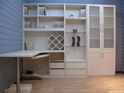 现代简约大容量实用书柜电脑桌一体图片