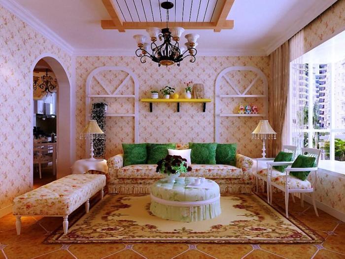 田园风格-80.22平米二居室-装修样板间