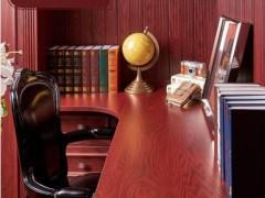 好莱客凯撒红系列 古典书房装修定制转角书柜书桌