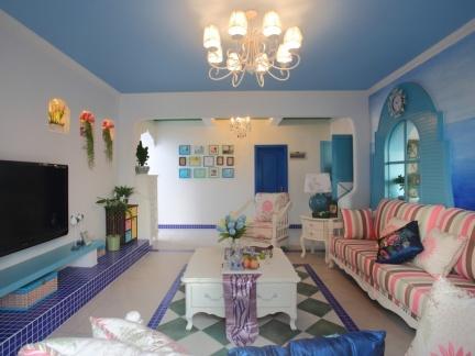 地中海风格彩色客厅装修实景图