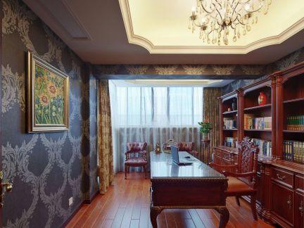奢华别墅简欧装修样板间书房实景图