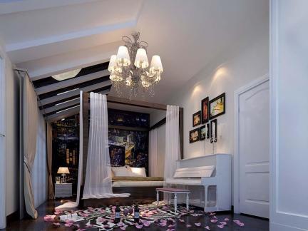 唯美三居卧室吊顶设计简美风格装修效果图
