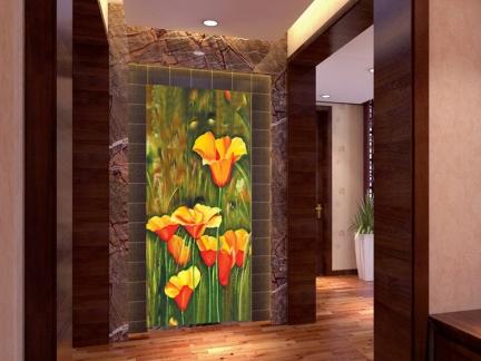 现代风格手绘郁金香玄关装饰画