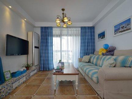 80年代蓝调地中海式装修风格客厅