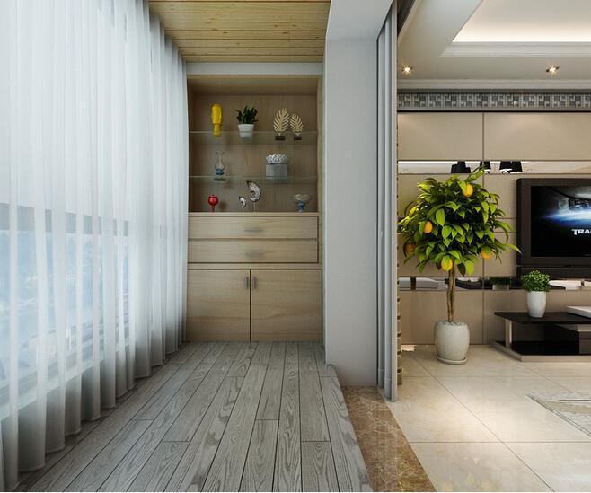 现代简约三居室阳台组合柜装修图片-房天下装修效果图
