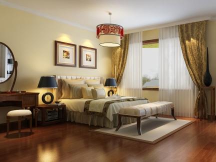 340平米独栋别墅卧室新中式装修样板间
