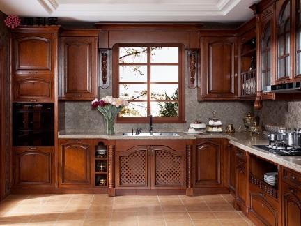 加利安实木橱柜 整体橱柜定制 欧式橱柜