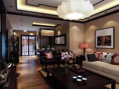 中式古典-60平米二居室装修样板间