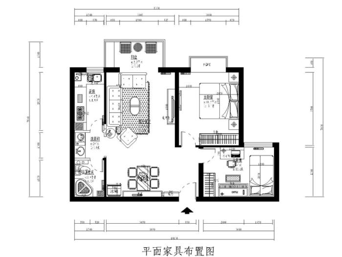 简欧风格-129平米三居室-装修样板间