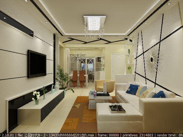 现代简约-108平米二居室-装修样板间