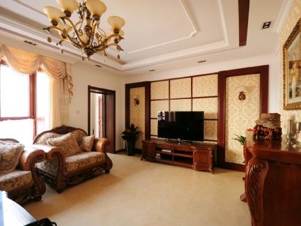 大气复古欧式风格乡村小别墅客厅实景图