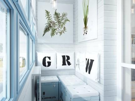 创意设计小户型文艺范儿阳台装修实景图